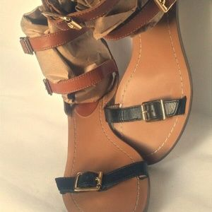 RENVY Double Strap Sandals Tan and Black